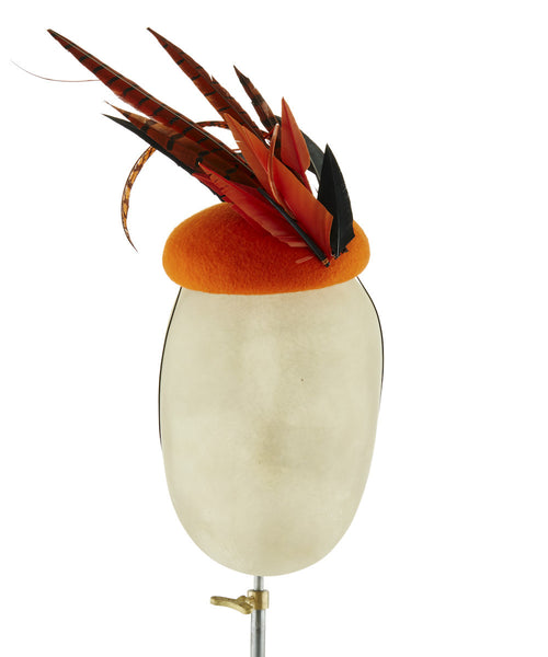 Tangerine Mohawk - fascinator designed by Edel Ramberg - Rent The Races  - 1