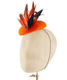 Tangerine Mohawk - fascinator designed by Edel Ramberg - Rent The Races  - 3