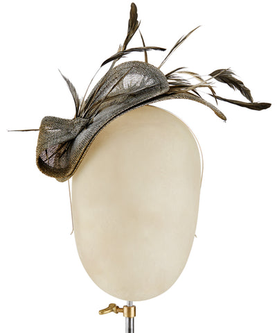 Pewter Feathers - fascinator designed by Fine Feathers - Rent The Races  - 1