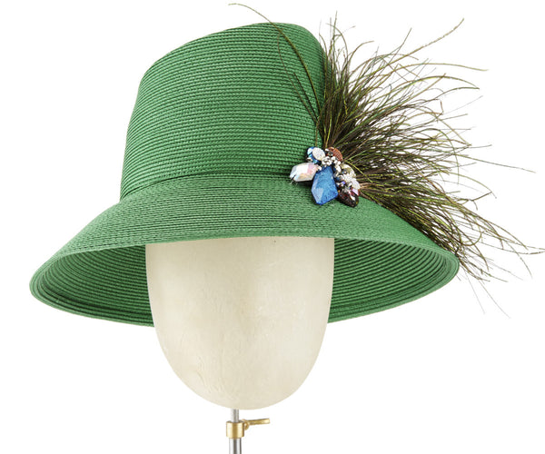 The Voss Derby II (Green) - hat designed by LD Carey Designs - Rent The Races  - 1