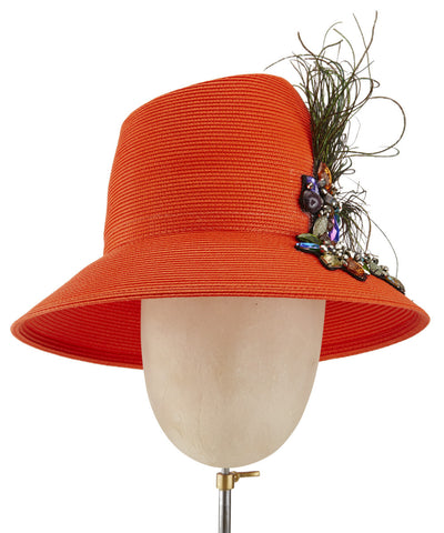 The Voss Derby II (Orange) - hat designed by LD Carey Designs - Rent The Races  - 1