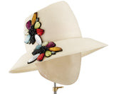 The Voss Derby (Cream) - hat designed by LD Carey Designs - Rent The Races  - 3