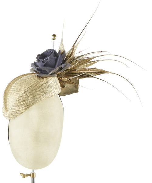 Gold Pillbox - fascinator designed by Sophie Hunter - Rent The Races  - 1