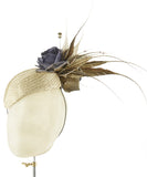 Gold Pillbox - fascinator designed by Sophie Hunter - Rent The Races  - 3