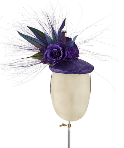 Purple Smartie - fascinator designed by Sophie Hunter - Rent The Races  - 1