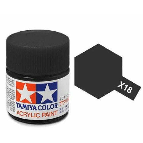 Tamiya 81518 X-18 Semi-Gloss Black Acrylic Paint 10ml