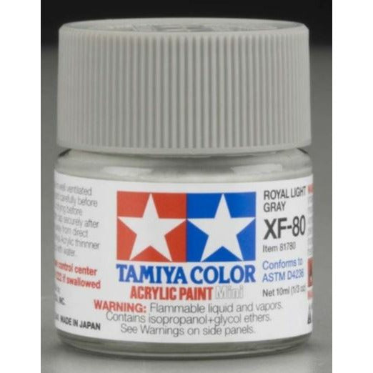 Tamiya 81780 XF-80 81780 Royal Light Grey Acrylic Paint 10ml Hobby Paint Bucket