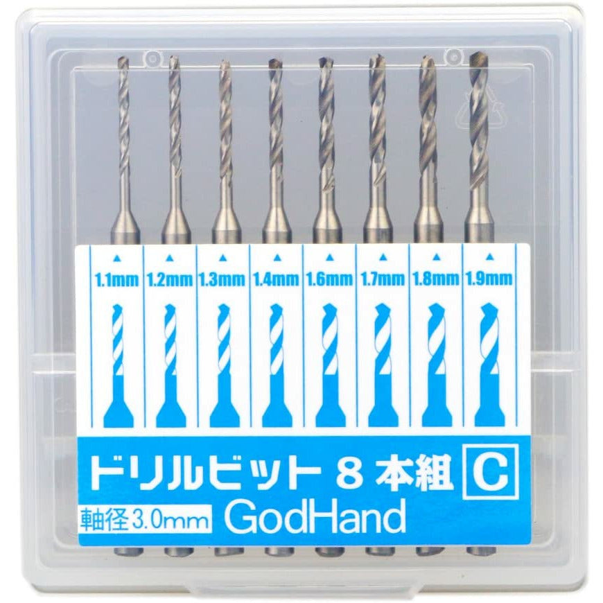 GodHand DB-8C Pin Vise Drill Bit Set of 8 1.1mm-1.9mm for Plastic Models