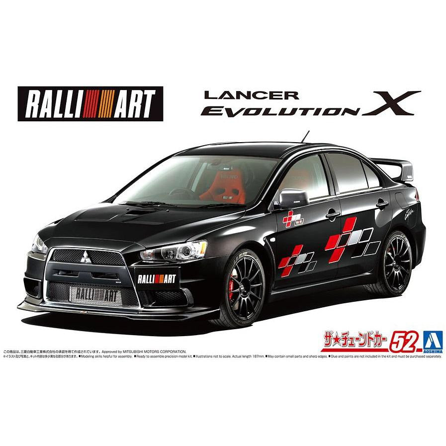 (PRE-ORDER August 2021) Aoshima Mitsubishi CZ4A Lancer Evolution EVO X '07 2007 1/24 Scale Model Kit