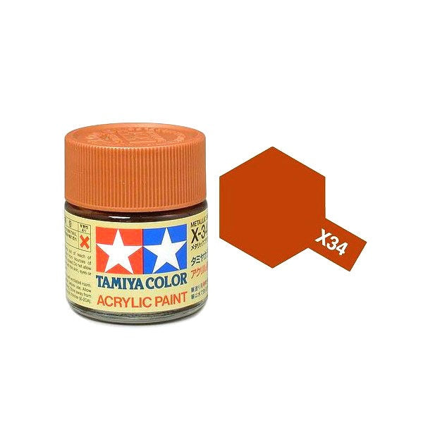 Tamiya 81534 X-34 Metallic Brown Acrylic Paint 10ml