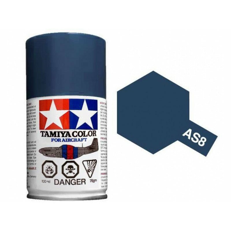 Tamiya Aircraft 86508 AS-8 Navy Blue (US Navy) Spray Lacquer Paint Aerosol 100ml