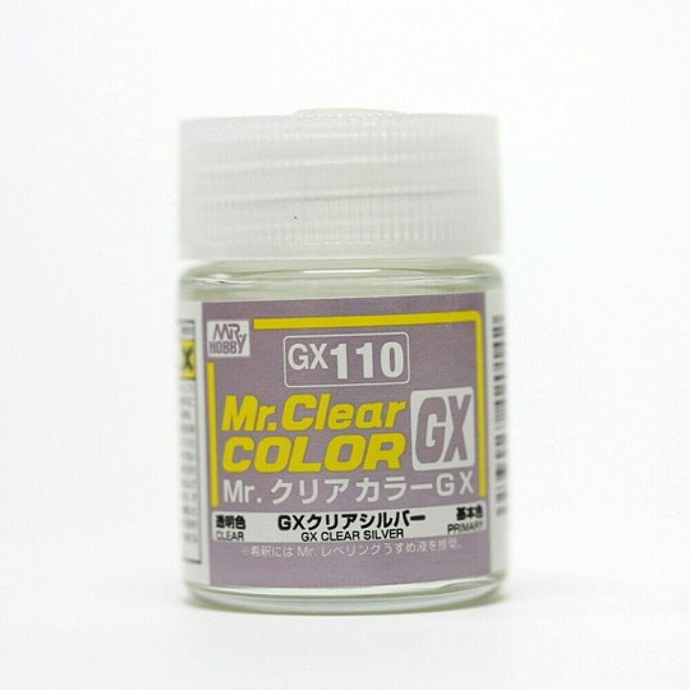 GSI Creos MR. Hobby Mr Clear Color GX110 GX Clear Silver 18mL Lacquer Model Paint