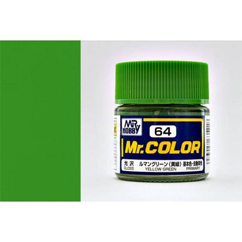 GSI Creos MR. Hobby Mr Color C64 Yellow Green 10mL Gloss Hobby Paint Bucket