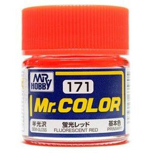 GSI Creos Mr. Hobby Mr Color C171 Flat Fluorescent Red 10mL Paint