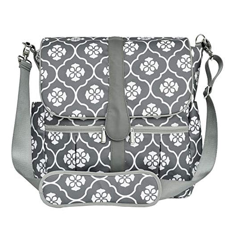 JJ Cole Infant Baby Backpack Diaper Bag Large Capacity Grey Gray Floret