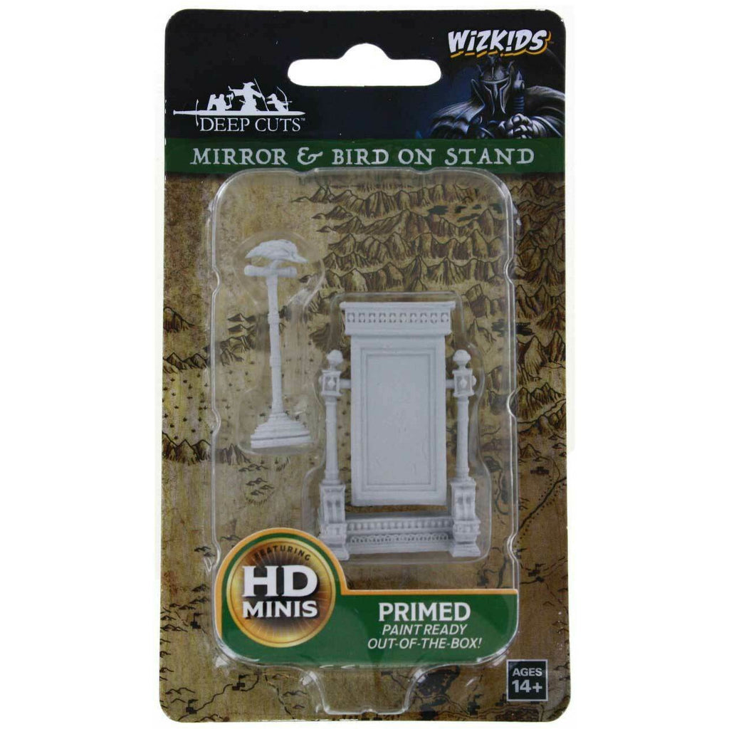 WizKids: Deep Cuts Unpainted Miniatures: Mirror & Bird On Stand
