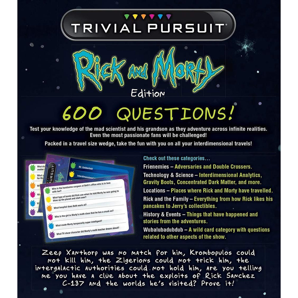Rick and Morty Trivial Pursuit Board Game