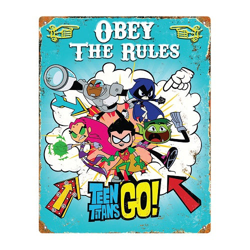 Party Animal - Teen Titans Go! - Embossed Metal Sign, 14.5-inches x 11.5-inches