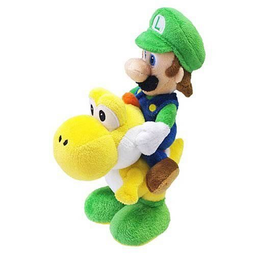 "Little Buddy Super Mario - Luigi Riding Yoshi 8"" Stuffed Plush"