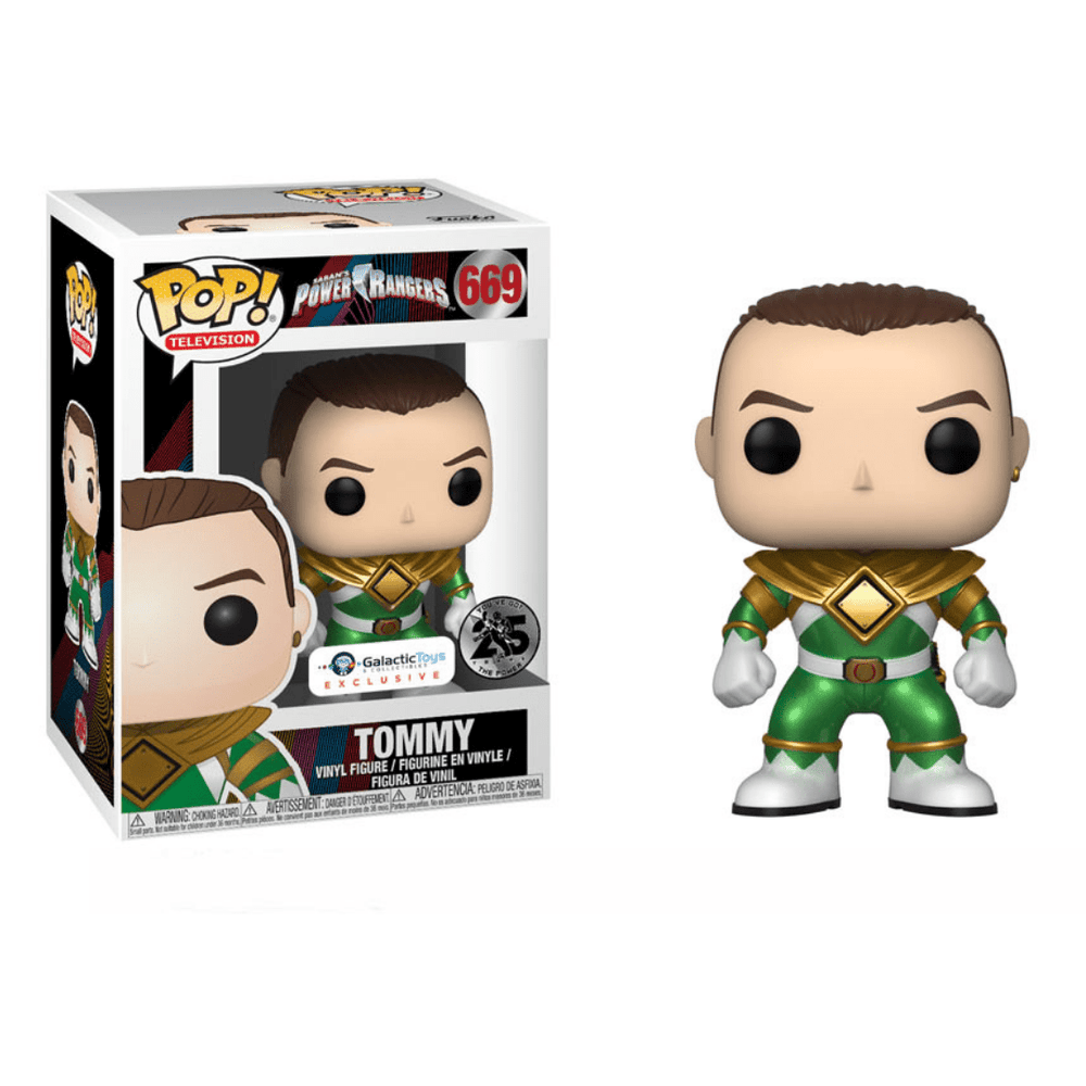 Galactic Toys Funko Pop TV: Metallic Unmasked Green Ranger Exclusive w Pop Protector