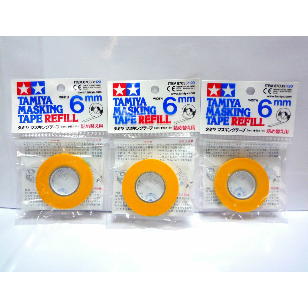 Tamiya 87033 Masking Tape Refill 6mm 3 Roll Bundle for Tamiya 87030