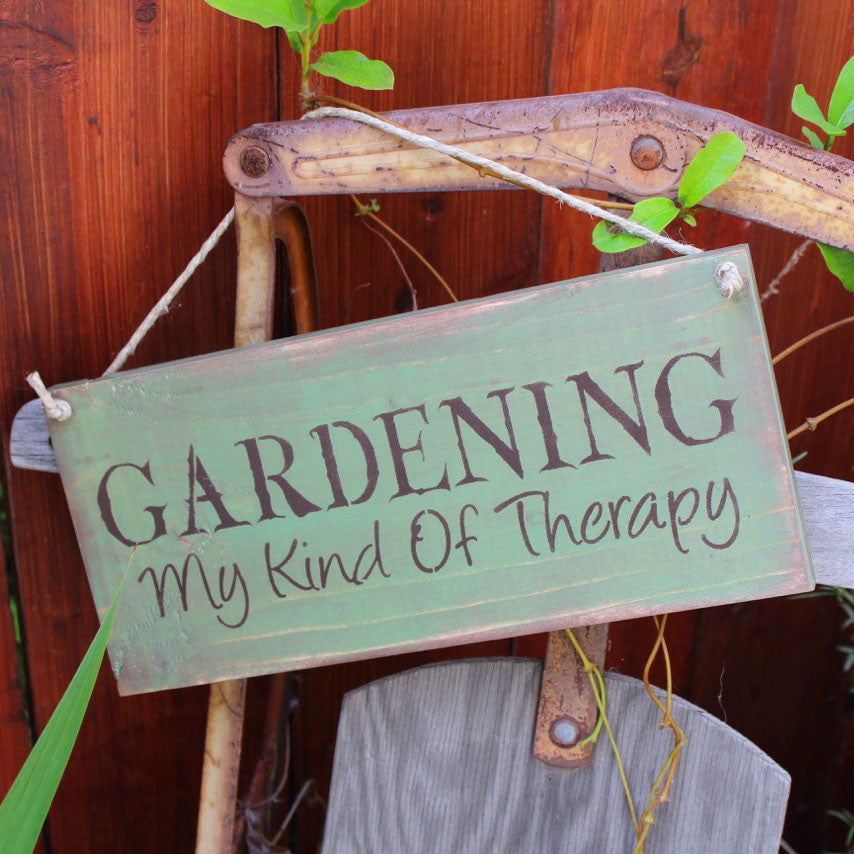 Garden Sign Gardening My Kind of Therapy Blue Sky Biochar