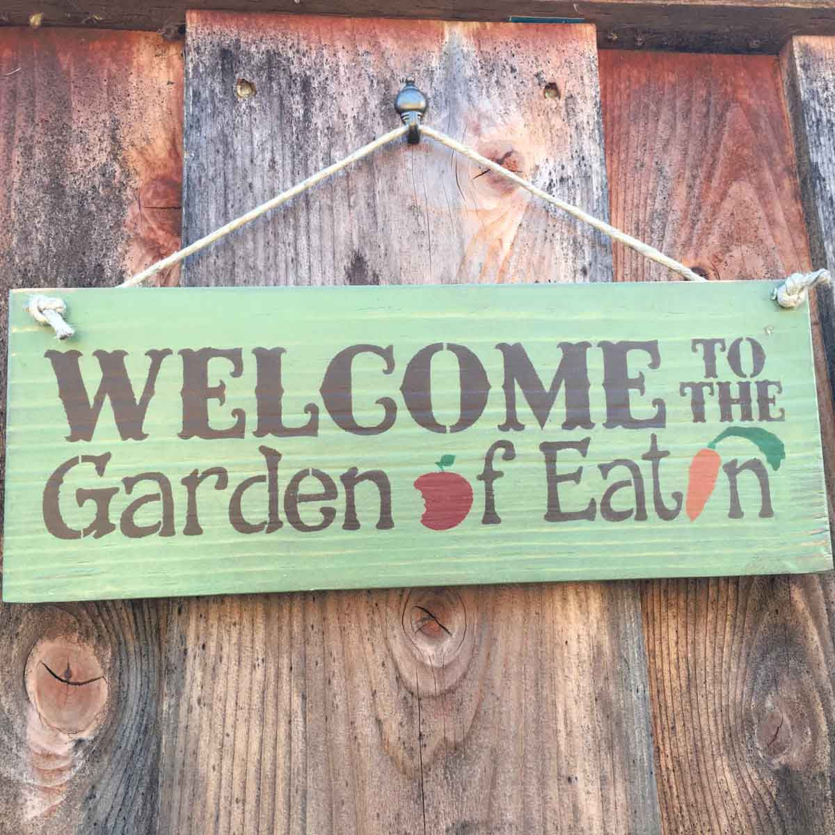 Garden Sign Welcome to the Garden of Eatin Blue Sky Biochar