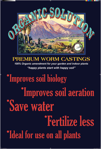 ORGANIC SOLUTION Premium Worm Castings ONE CUBIC FOOT 25 Qts