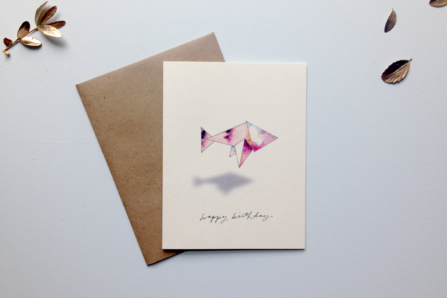 origami birthday fish card