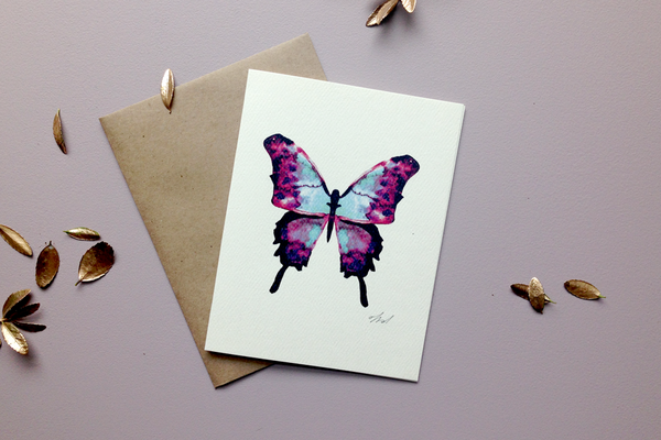 butterfly greeting card back from Keeks Paper Co.
