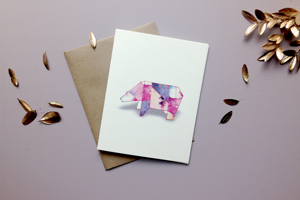 polar bear origami greeting card from Keeks Paper Co.