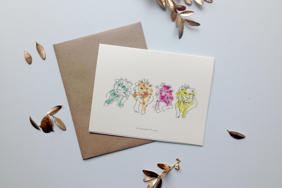 proud lions greeting card