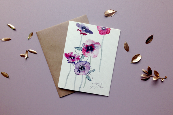 sympathy poppy greeting card from Keeks Paper Co.