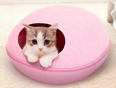 HOOPET Felt  Egg Shaped Zipper Sleeping Bag For Pets