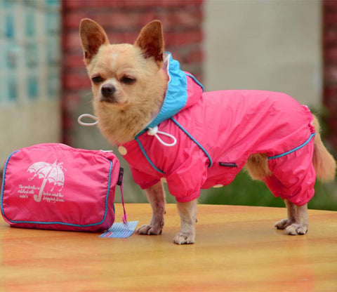Waterproof Slicker Jumpsuit Rain Coat Apparel For Dogs