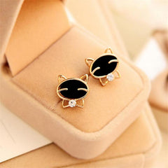 1 Pair Black Smile Cat High-Grade Fine Stud Earrings for Women