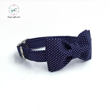 Blue Dog Collar and Lead Set with Bow Tie