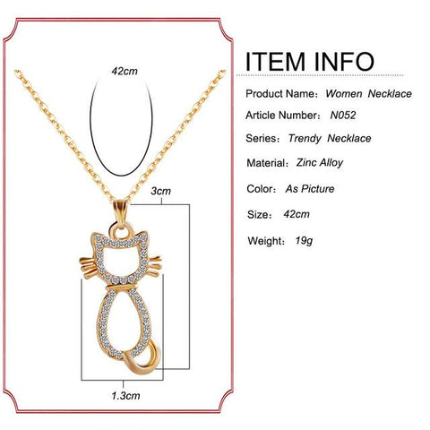 F&U Gold and Silver Color Cat Shaped Chain Pendant Necklace for Girls