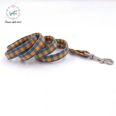 The Orange Plaid Dog Collar and Leash with Bow Tie