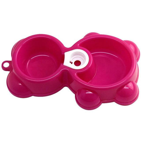Dish Water Food Feeder Fountain Bear Double Bowl