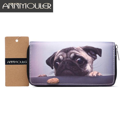 Cookie Pug Printed Leather Wallet