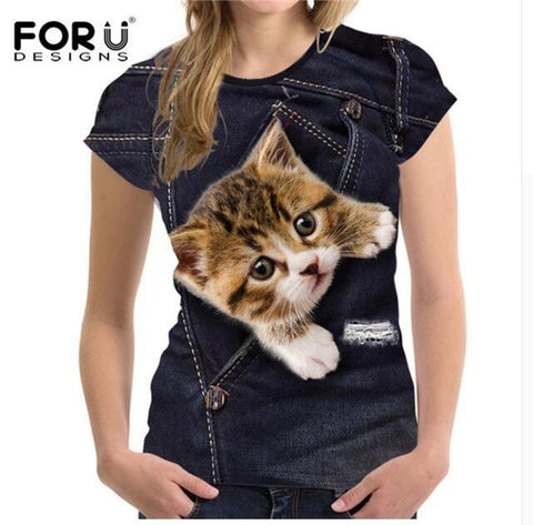 Cute Cat T-shirt For Women