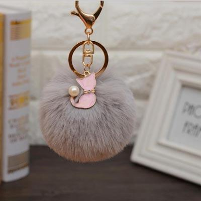Plush Faux Fur Ball with Cat Keychain