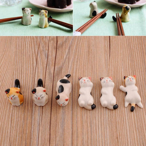 1 Set 6 Pieces Japanese Ceramic Cat Shape Tableware Holders