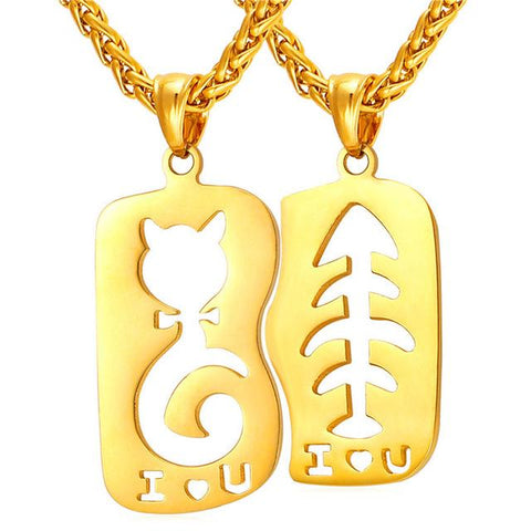 U7 Cat & Fish love Necklace & Pendant