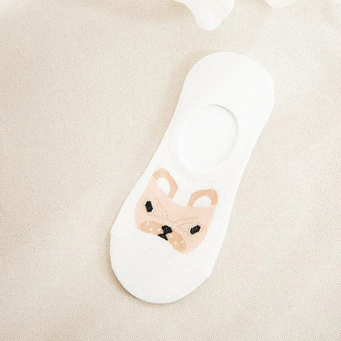 Spring Summer Cartoon Animal Dog Invisible Ankle Boat Socks