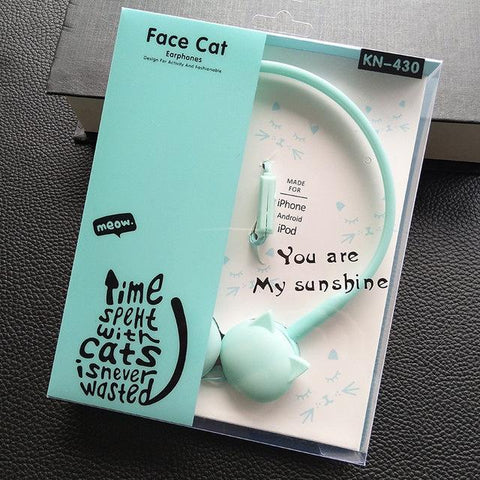 Cat Themed Ear Cups Stereo Headphones