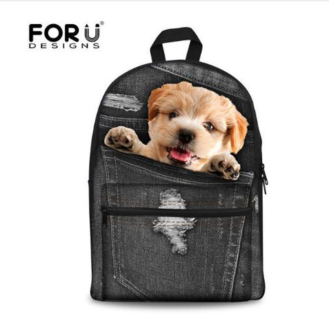 3D Pet Design Backpack for Students