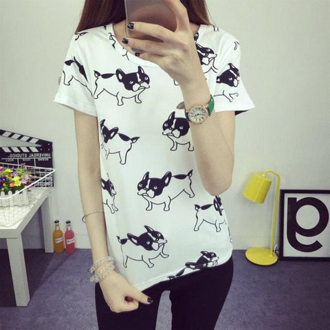 Cute Dog Printed Tops for Women