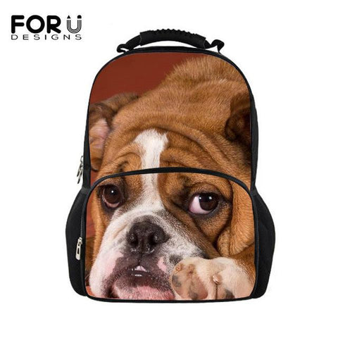3D Full Art Dog Design Polyester Backpack
